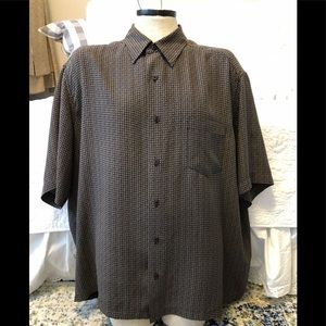 MENS Claiborne 100% silk short sleeve button down